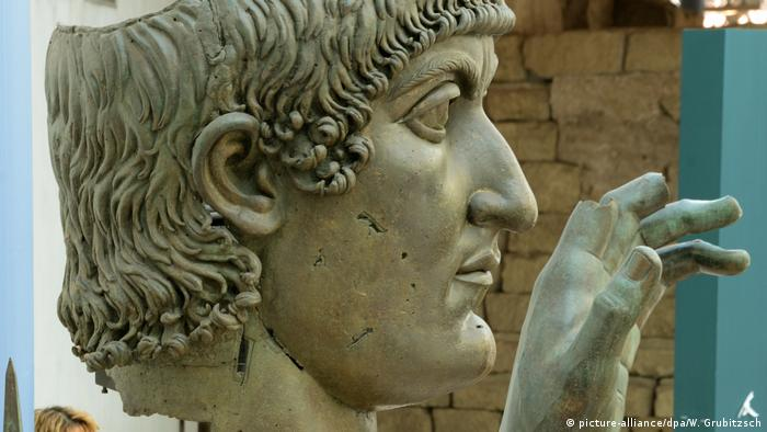 A stone bust of a head of Constantine