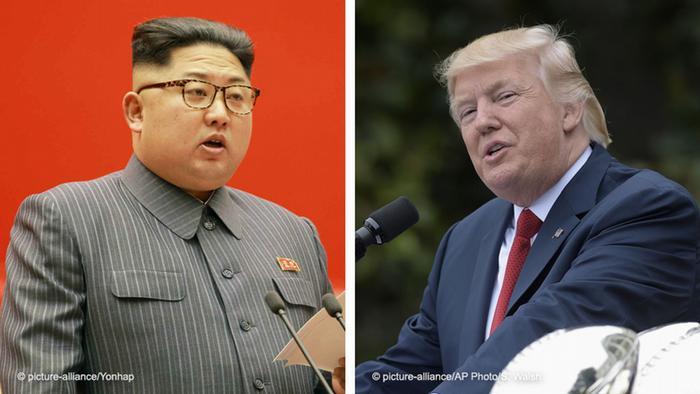 Kombobild von Kim Jong Un und Trump