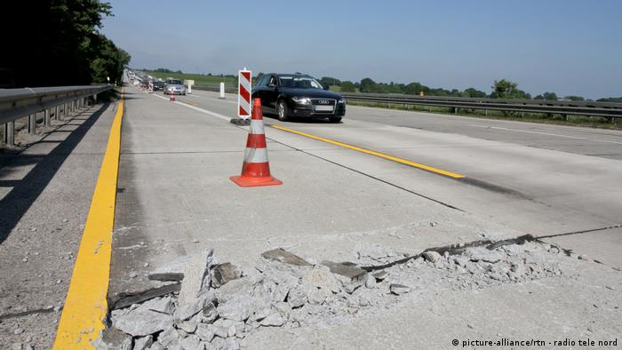 Cracked concrete on a German motorway.