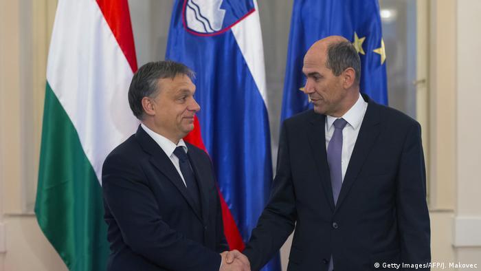 Críticos de la UE: el primer ministro de Hungría, Viktor Orban (izq.), y su homólogo esloveno, Janez Jansa.