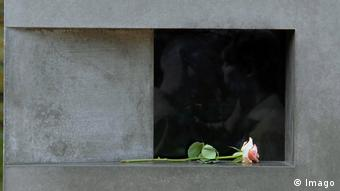 A rose put down at Berlin's Memorial to Homosexuals Persecuted Under Nazism