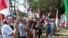 03.06.2018+++Minsk, Weißrussland+++ Proteste gegen Bau am Ort des Gedenkens an Opfer des Totalitarismus Kuropaty mit dem weisrussischen Menschenrechtler Yuri Belenky