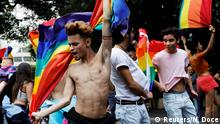 03.06.2018 Revellers dance as they take part in the Gay Pride parade along Paulista Avenue in Sao Paulo, Brazil June 3, 2018. REUTERS/Nacho Doce