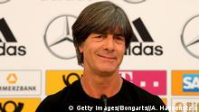EPPAN, ITALY - JUNE 04: Joachim Loew, head coach of the German national team talks to the media during a press conference at Sportanlage Rungg on June 4, 2018 in Eppan, Italy. All World Cup participants had until today to announce their final squad for the upcoming FIFA World Cup in Russia. Loew had to send home four players to meet the maximum number of 23 players. He has chosen Bernd Leno, Jonathan Tah, Leroy Sane and Nils Petersen who will miss the tournament. (Photo by Alexander Hassenstein/Bongarts/Getty Images)