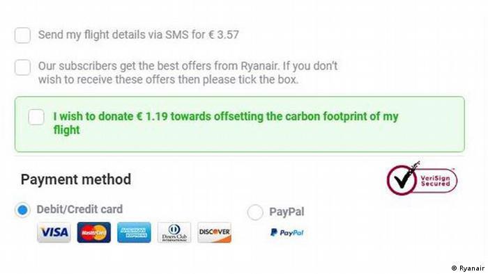Screenshot Website Ryanair