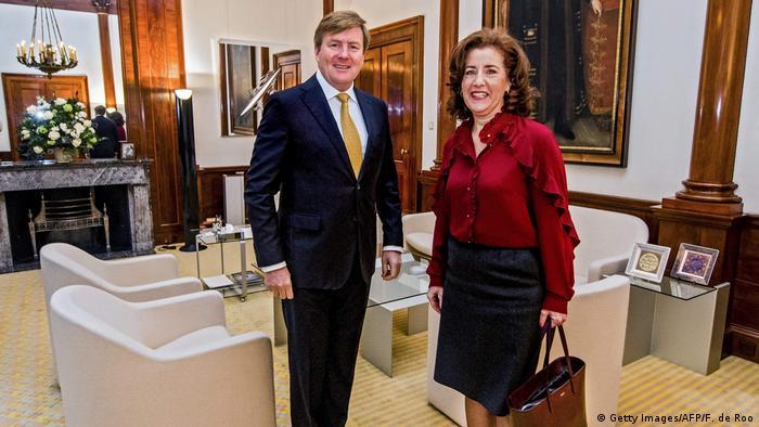 Netherlands King Willem-Alexander with Dutch Education Minister Ingrid van Engelshoven