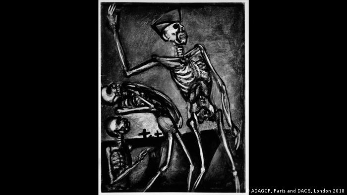 A skeleton directs other dead skeletons on the front line (ADAGCP, Paris and DACS, London 2018)