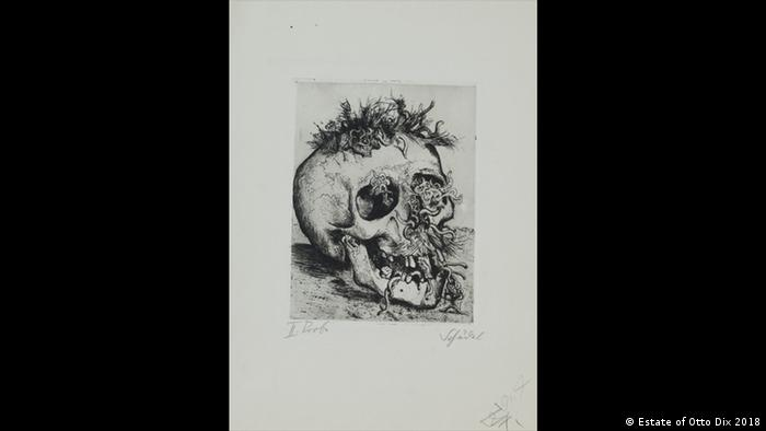 An etching of a rotting skull infested with vermin and maggots (Estate of Otto Dix 2018)