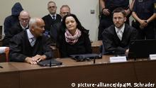 05.06.2018 Terror suspect Beate Zschaepe, front second left, sits in the court room beside her lawyers Mathias Grasel, front third left, and Hermann Borchert, front left, in Munich, Germany, Tuesday, June 5, 2018. Zschaepe has been on trial since May 2013 as an alleged accomplice in a series of racially motivated murders by a neo-Nazi terrorist cell of the so-called National Socialist Underground (NSU) across Germany. (AP Photo/Matthias Schrader, Pool) |