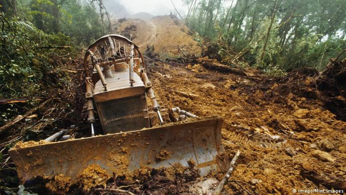 Bulldozer cutting logging road through rainforest on Borneo (Imago/Mint Images)