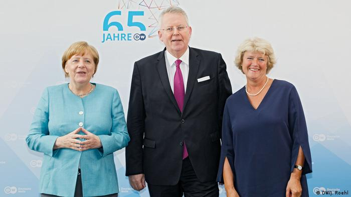 German Chancellor Angela Merkel, DW Director General Peter Limbourg and Minister of State Prof. Monika Grütters at the 65 Years of DW ceremony in Berlin