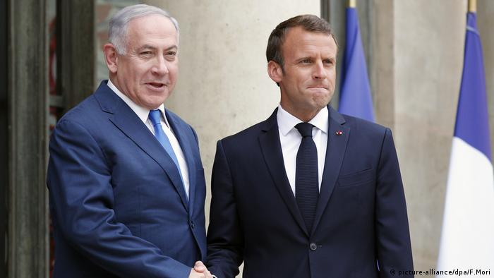Benjamin Netanjahu in Frankreich Paris mit Emmanuel Macron