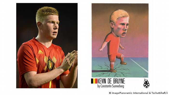 photo of football player in orange top left and comic-style illustration right with leg breaking the ground (Imago/Panoramic International & Tschuttiheft.li)