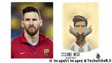 Tschuttiheft.li Karikaturen Fußballspieler | Original & Fälschung | Lionel Messi