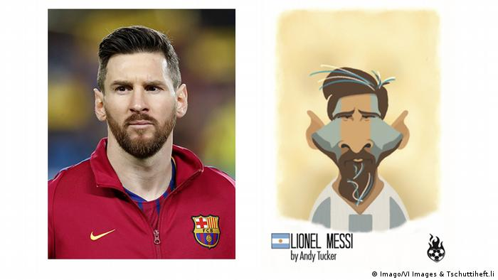 photo of football player standing in red top left and an illustration right with Argentina national team colors and pointed ears (Imago/VI Images & Tschuttiheft.li)