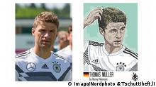 Thomas Müller Tschuttiheft.li Karikaturen Fußballspieler   Original & Fälschung © Imago/Nordphoto & Tschuttiheft.li