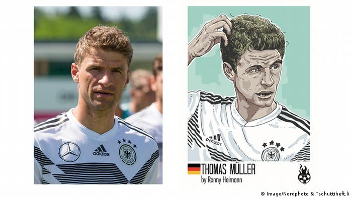 A footballer in a German top stands in one photo, and scratches his head in an illustration on the right (Imago/Nordphoto & Tschuttiheft.li)