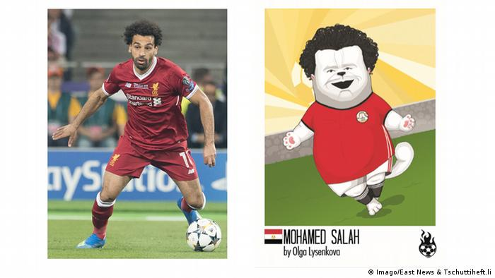 photo of football player with ball at his feet in red outfit on left, and comic-style illustration right with player portrayed as a cat (Imago/East News & Tschuttiheft.li)