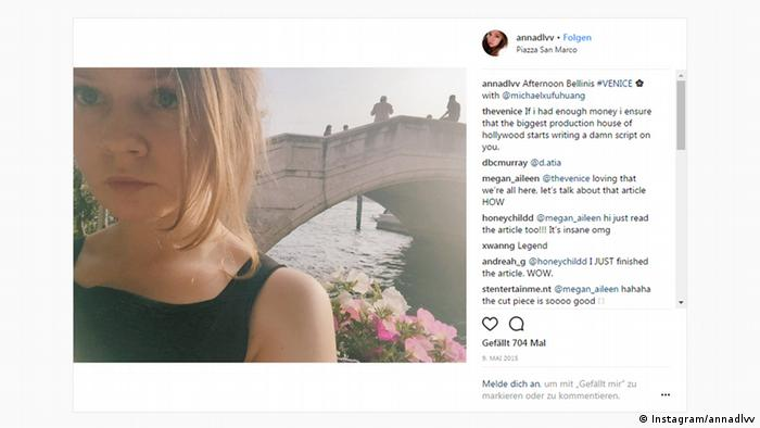 Instagram screenshot from Venice features Anna Delvey (Instagram/annadlvv)