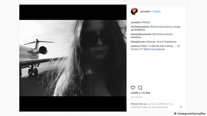 Screenshot of woman in front of a private plane