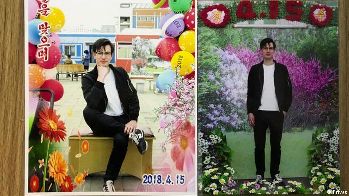 Erinnerungsfoto Alek Sigley am nordkoreanischen Feiertag, dem Tag der Sonne (Privat)