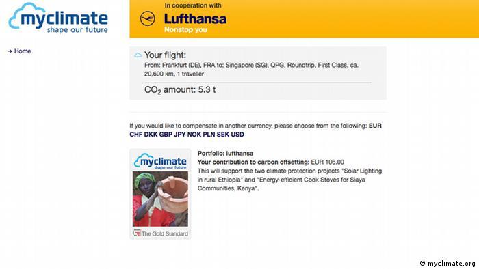 Screenshot Website MyClimate