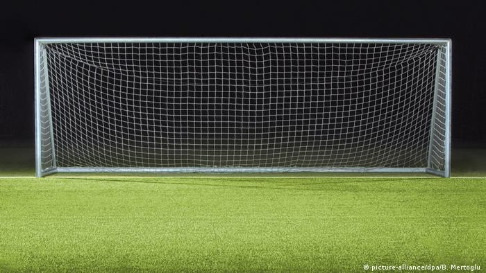 A goal frame sitting on an empty field (picture-alliance/dpa/B. Mertoglu )