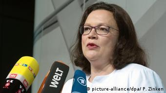 SPD Chairwoman Andrea Nahles addresses reporters