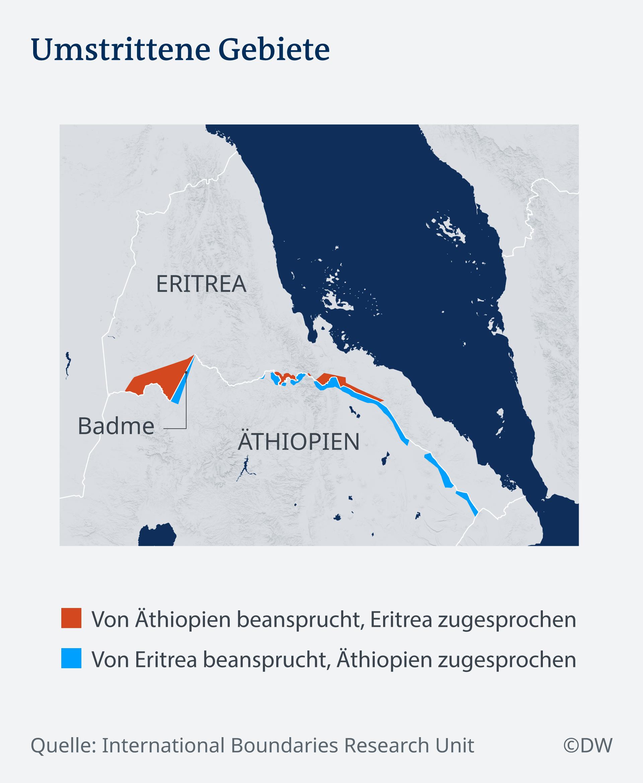 Karte Infografik Umstrittene Gebiete Äthiopien Eritrea DEU