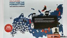 06.06.2018 Brüssel Karte von Russland mit den Gefängnissen, wo die politische Gefangene in Haft sitzen. Aktion der Grünen-EFA im EU-Parlament (Rebecca Harms), um die Menschen auf die Menschenrechtsverletzungen in Russland vor der Fußball-Weltmeisterschaft 2018 aufmerksam zu machen.