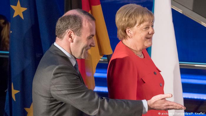 Angela Merkel with Manfred Weber at the EPP study days
