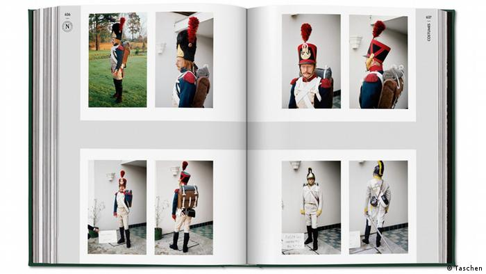 Pages of a book with photos of men dressed as historical soldiers