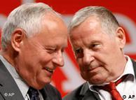 Lafontaine (izq.) y Lothar Bisky, líderes de La Izquierda.