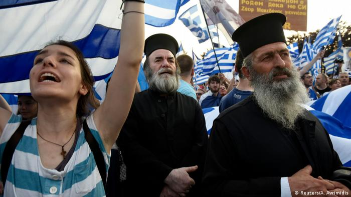 Greek priests protest in Pella (Reuters/A. Avrimidis)