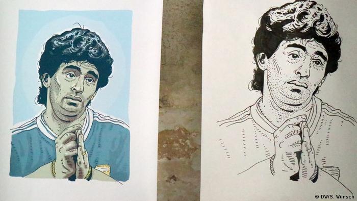 Tschutti Künstler - Diego Maradona, gezeichnet von Ronny Heimann