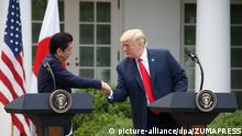 USA | Donald Trump trift japanischen Premierminister Shinzo Abe (picture-alliance/dpa/ZUMAPRESS)