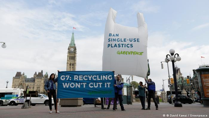 Greenpeace protest at the G7 Summit in Canada