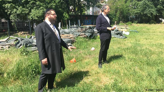 Rabbi Yehuda Teichtal and Architect Sergei Tchoban on the site of the future campus