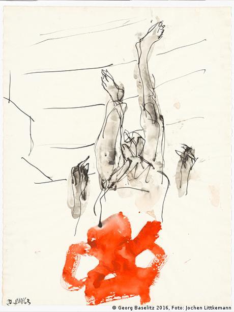 Den Unterkörper einer herabschreitenden Figur zeigt diese Arbeit von Georg Baselitz