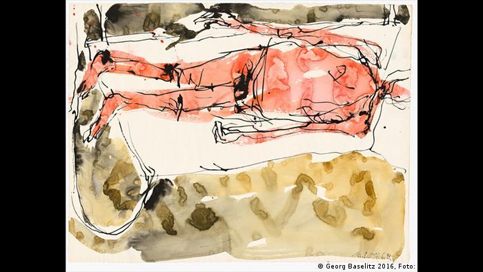 Eine nackte Gestalt liegt auf dem Bett (Georg Baselitz 2016, Foto: Jochen Littkemann)