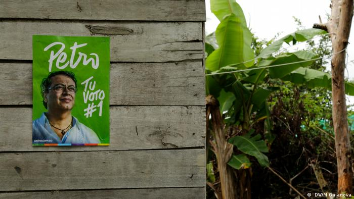 A campaign poster for Gustavo Petro on a shack in rural Colombia