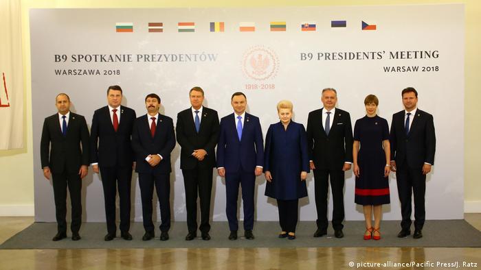 Члены саммита Бухарестской девятки в Варшаве