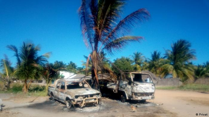 Houses in Mucojo village in Mozambique's Macomia province, destroyed by armed groups