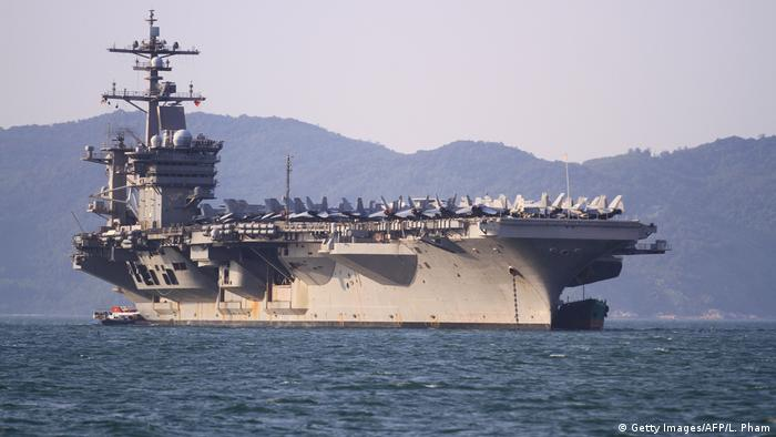 The US aircraft carrier USS Carl Vinson in the South China Sea
