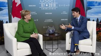 Меркель и Трюдо во время саммита семерки в июне 2018 года