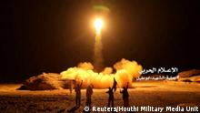 FILE PHOTO: A photo distributed by the Houthi Military Media Unit shows the launch by Houthi forces of a ballistic missile aimed at Saudi Arabia March 25, 2018. Houthi Military Media Unit/Handout via Reuters/File Photo ATTENTION EDITORS - THIS IMAGE HAS BEEN SUPPLIED BY A THIRD PARTY.
