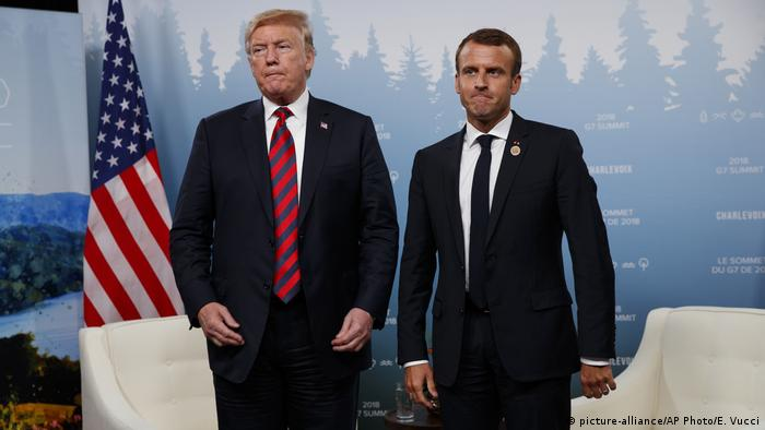 President Donald Trump meets with French President Emmanuel Macron during the G-7 summit