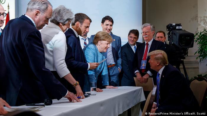 Kanada Staats- und Regierungschefs G7-Staaten diskutieren gemeinsame Erklärung in Charlevoix (Reuters/Prime Minister's Office/A. Scotti)