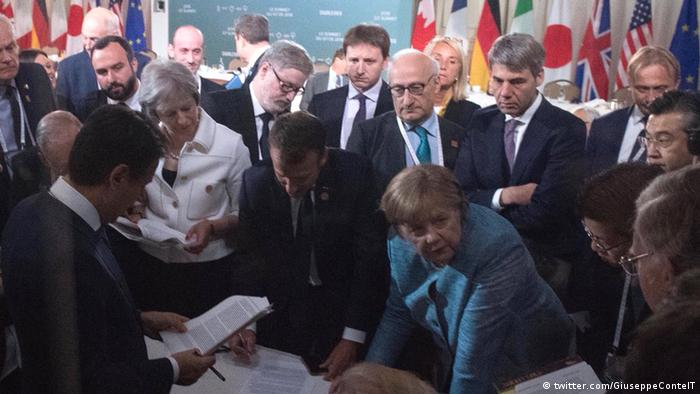 G7 leaders without Trump in Charlevoix (twitter.com/GiuseppeConteIT)