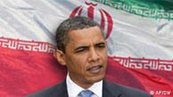 Obama in front of Iranian flag